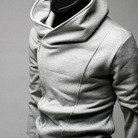 Men's Oblique Zipper Winter Coat Grey