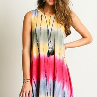 Festival Ready Sleeveless Tie Dye Dress - Fuchsia/Yellow Mix