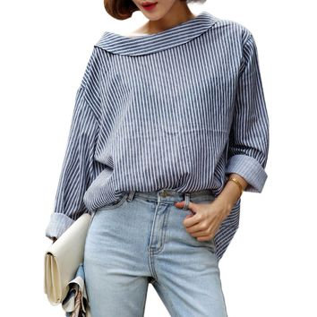 Shirt 2017 Autumn Long Sleeve Blue Striped Back Button Loose Casual Oversized Top Blouse Women Clothing women loose tops blusas