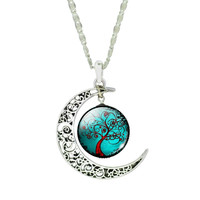 Fashion Glass Moon Statement Necklace Vintage Sterling Silver Jewelry Life Tree Pandent Necklace for Women 2015