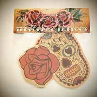 Day of the Dead Temporary Tattoo Pack by esterkneen on Etsy