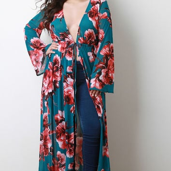 Semi-Sheer Floral Mesh Cover Up Maxi Dress | UrbanOG