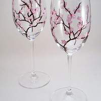 Light pink cherry blossoms - hand painted wine glasses - set of 2 Made to Order
