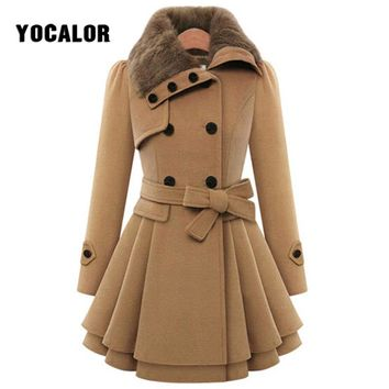 6dfdbca927 Vintage Woolen Double Buckle Trench Coats Female Autumn Coat Win
