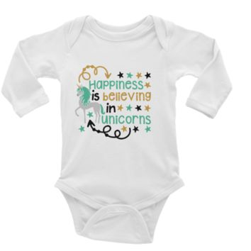 Happiness is Believing in Unicorns Personalized Long or Short Sleeve Onesuit