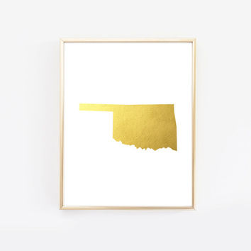 Oklahoma State Gold Foil Art Print