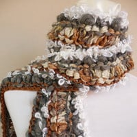 Winter accessories - Hand knitted scarf in grey, white & bronze with fringe - one of a kind - 4 quality yarns