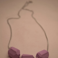 Geometric lilac clay bead necklace