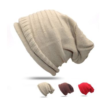 1pcs Unisex Baggy Beanie Winter Warm Hats Slouchy Crochet Knitted Cap for Women Men Girl's Hat Cap Bonnet Femme Hiver Gorros