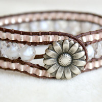 White Boho leather wrap bracelet, leather cuff, Chan Luu Style, brown, white, crystal, pink, rose, frosted, trendy
