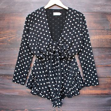 Lioness black with envy ruffle hem polka dot romper - black