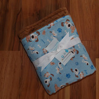 Dog/Pet Blanket/ Cotton Puppies/ Mocha/ Brown Minky