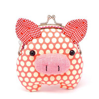 Little salmon pink piggy clutch purse by michellechan1010 on Etsy