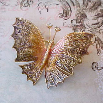 Beautiful Vintage Plique-a-Jour Enameled Butterfly Brooch with Moving Jeweled Antennae