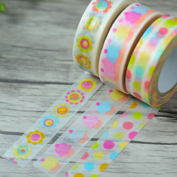 New 1x Kawaii Colorful Cupcake Patterned Japanese Washi Tape Decorative Masking Tape for Scrapbooking 15mm*9m Cute Stationery