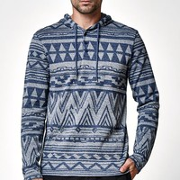 On The Byas Cooke Henley Hooded Shirt - Mens Shirt - Blue