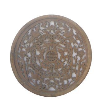 Chinese Round Birds Bats Wood Wall Plaque cs477-1S