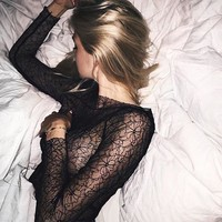 Lace See Through Sexy Bottoming Shirt [9968311491]