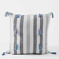 Magical Thinking Tassel-Stripe Pillow- Grey One