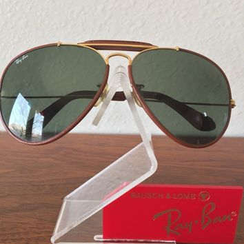 VINTAGE B&L RAY BAN USA Brown Tobacco Leathers G15 62mm SUNGLASSES