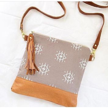 Beige tribal crossbody