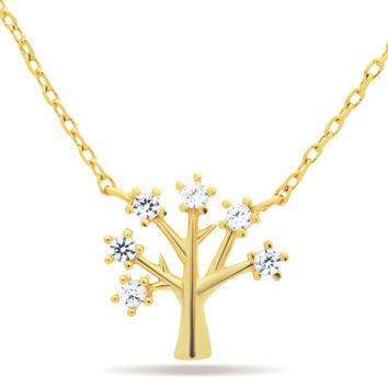 Tree Necklace, 14K Gold Plated Tree of Life Necklace, Simple Minimalist Necklace