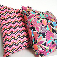 Hot Pink Pillow Set, Pink and Black, Bohemian Decor, Set of Pillows,  18x18 and 16x16 Inch