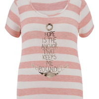 Plus Size - Hope Is The Anchor That Keeps Me Grounded Knit Tee - Living Coral
