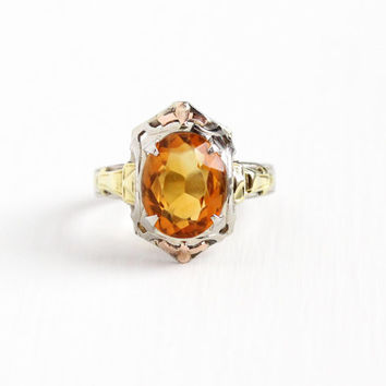 Vintage 10k White Gold Filigree Citrine Ring - Size 5 Art Deco 1930s Orange Gem November Birthstone Rose & Yellow Gold H of K Fine Jewelry