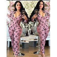 LV Louis Vuitton Autumn Fashion Women Casual Print Long Sleeve Jumpsuit Pink