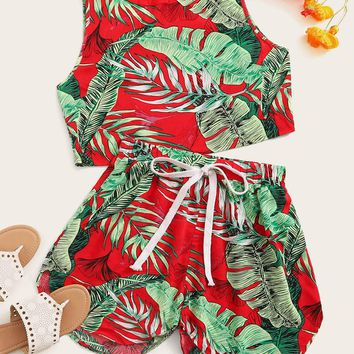 Tropical Print Tank Top and Dolphin Shorts Set
