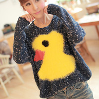 Mohair Duck Graphic Sweater(N1118)