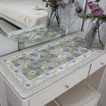 yazi Blue Embroidered Flower Cutwork Tablecloth Rectangle Square Lace Fabric Fridge Microwave Table Cover Decor
