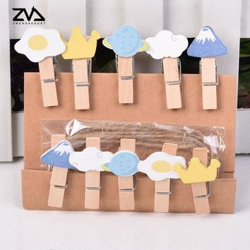 10 pcs/lot Kawaii cartoon memory time Wood Clip Photo paper Clothespin Craft Clips Party decoration Clip with Hemp Rope