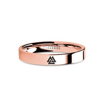 Viking Valknut Triquetra Knot Engraved Rose Gold Tungsten Ring