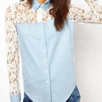 Long Sleeve Turndown Collar Lace Patchwork Shirt