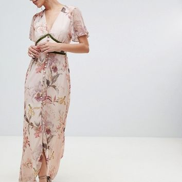 Hope & Ivy Fluted Sleeve Maxi Dress with Velvet Trim at asos.com