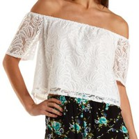 Off-The-Sholder Lace Crop Top by Charlotte Russe