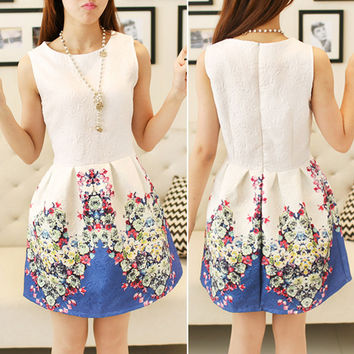 Retro Flower Print Mini Tank Dress