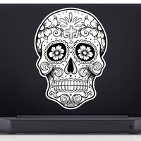 Sugar Skull Version 5 Laptop Vinyl Decal Sticker Art Graphic Sticker Sugarskull Decal Sticker Laptop Car Window