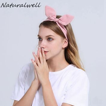 Naturalwell Girls Headband Teen Hair Accessory Headwrap Women Bow Headband Pre-tied headband Hairband with elastic band WH020