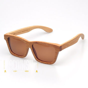 Wood Sunglasses - Eco-Friendly Simple Bamboo Wayfarer Wood Sunglasses | Hand Made from Bamboo | Polarized Tan Lenses