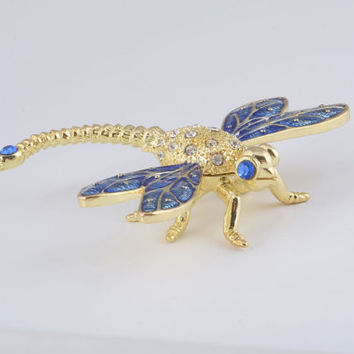 Golden Blue Dragonfly Faberge Styled Trinket Box Handmade by Keren Kopal Enamel Painted Decorated with Swarovski Crystals
