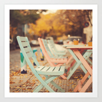 Dream Autumn (Pink and blue coffee shop chairs on retro and vintage fall) Art Print by Andrea Caroline