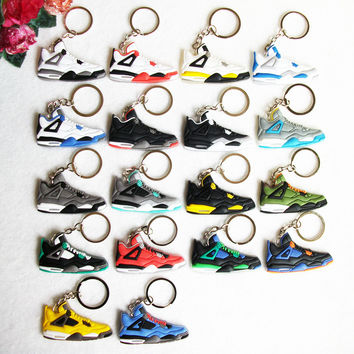Mini Silicone Jordan 4 Key Chain Bag Charm Woman Kids Key Ring Gifts Sneaker Key Holder Pendant Accessories Shoes Keychain