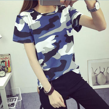 Summer Fashion BF Harajuku Style Camouflage T-shirt Female Students Tops Loose Short Sleeve Casual Women T shirts Plus Size