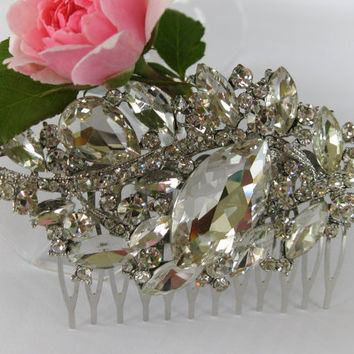 """Crystal Bridal Hair Comb """"Flowers for the Princess"""", Wedding Hair Pieces, Rhinestone Combs, Wedding Hair Accessories, Bridal Headpieces"""