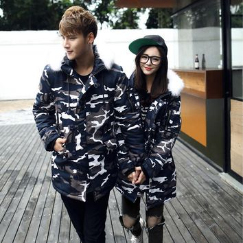 Autumn and winter new lovers fitted men and women Slim green camouflage large wool collar thickening warm cotton Mianfu YF100