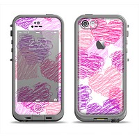 The Loopy Pink and Purple Hearts Apple iPhone 5c LifeProof Fre Case Skin Set
