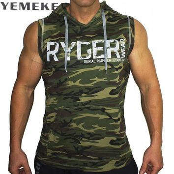 Men's Camouflage  Tank Top Sleeveless Hoodie Cross fit Bodybuilding Cotton Workout Fitness Muscle Cut Male Tank Top